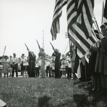 Image of Veteran's Honor Guard - Photograph of the Oak Lawn Memorial Day ceremony in 1966.  There is an honor guard present.