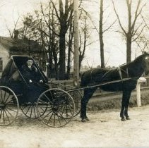 Image of Hans Reimer Postcard - This item is a postcard of Hans Reimer at 103rd Street and Cicero Avenue around 1900.  The front features him sitting in a horse and buggy near a home while the back has a small amount of written information.