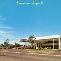 Image of Evergreen Imports Postcard - This item is a postcard of the Evergreen Imports Volkswagen Dealership located at 8920 South Cicero Avenue in Oak Lawn. The front has an image of the dealership while the back has the address and phone number.