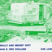 Image of Citizen's Band Radio Postcard - This item is a postcard from Citizen's Band Radio users Wally and Mickey Kott.  The front has information including an address and channel numbers along with the image of a camper.
