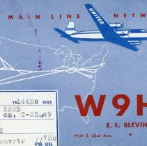 Image of Citizen's Band Radio Postcard - This item is a postcard from Citizen's Band Radio user E.L. Blevins of Oak Lawn.  The front has information including an address and channel numbers along with the image of an airplane.
