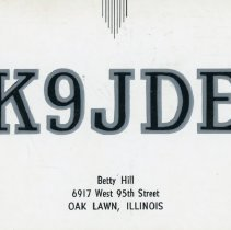 Image of Citizen's Band Radio Postcard - This item is a postcard from Citizen's Band Radio user Betty Hill of Oak Lawn.  The front has an address, while the back has a large amount of hand-written information and a stamp from the Golden Jubilee.