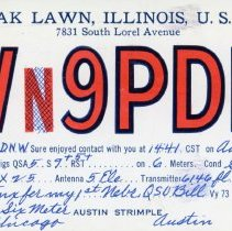 Image of Citizens Band Radio Postcard - This item is a postcard from Citizen's Band Radio user Austin Strimple of Oak Lawn.  The front has a large amount of information while the back has an address and a one cent stamp.