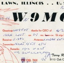 Image of Citizens Band Radio Postcard - This item is a postcard from Citizen's Band Radio user Terry Russell of Oak Lawn.  The front has a large amount of information while the back has an address and a two cent stamp.