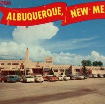 Image of Albuquerque Municipal Airport Postcard - Color postcard depicting the Albuquerque Municipal Airport in New Mexico.  The autograph of major league pitcher Bob Feller is on the reverse.  This item was obtained during the 1963 Babe Ruth League World Series attended by members of Oak Lawn Baseball for Boys.