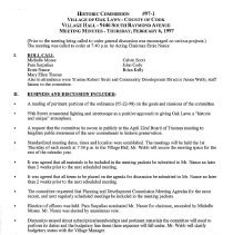 Image of Village of Oak Lawn Oak Lawn Historic Commission Minutes, 1997 - Minutes of the Oak Lawn Historic Commission for the year 1997.