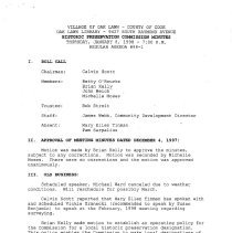 Image of Village of Oak Lawn Oak Lawn Historic Commission Minutes, 1988 - Minutes of the Oak Lawn Historic Commission for the year 1998.