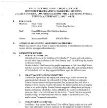 Image of Village of Oak Lawn Oak Lawn Historic Commission Minutes, 2006 - Minutes of the Oak Lawn Historic Commission for the year 2006.