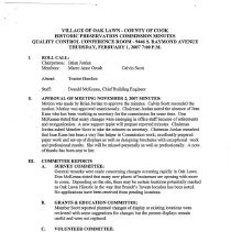 Image of Village of Oak Lawn Oak Lawn Historic Commission Minutes, 2007 - Minutes of the Oak Lawn Historic Commission for the year 2007.