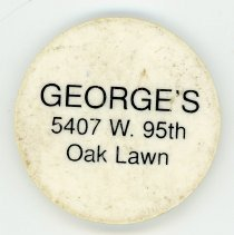 Image of George's Complimentary Drink Token - This item is a complimentary drink token given away by George's located at 5407 West 95th Street.  It is white in color with black lettering.