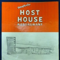 Image of Dougherty's Host House Restaurant Menu - This item is a menu from Dougherty's Host House Restaurant located at 5955 West 95th Street.  The menu is red and white in color with an image of the building on the front.