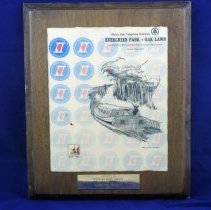 Image of Illinois Bell Award Plaque - This item is an Illinois Bell Award Plaque given to the Oak Lawn Public Library in 1968.  It features the May 1968 telephone book cover and celebrates the Illinois Sesquicentennial.
