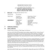 Image of Village of Oak Lawn Board of Trustees Minutes, 2006 - Minutes of the Oak Lawn Board of Trustees for the year 2006.