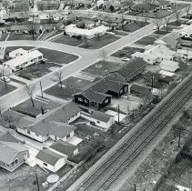 Image of Aerial Photograph of Hometown - This is an aerial photograph of Hometown taken one year after the 1967 Tornado.  The area was heavily damaged in the storm, but quickly rebuilt over the proceeding twelve months.  Rail tracks, located near Southwest Highway, are visible.