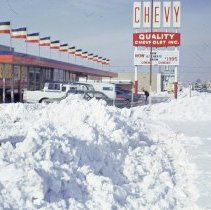 Image of 1967 Snowstorm - This is a photograph of the 1967 snowstorm.  It features the Quality Chevrolet Dealership located at 9440 South Cicero Avenue.