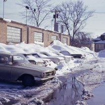 Image of 1967 Snowstorm - This is a photograph of the 1967 snowstorm.  It features a number of cars buried under several feet of snow.