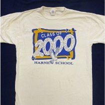 Image of Harnew School T-Shirt  - This item is a t-shirt from Harnew School's class of 2000. It is white, blue, and yellow in color and features signatures from students.
