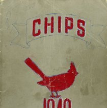 "Image of Blue Island Community High School Yearbook: Chips, 1949 - This item is the 1949 ""Chips"" yearbook for Blue Island Community High School. The cover is grey with the image of a red bird. Prior to the opening of the Oak Lawn High Schools, some local residents attended Blue Island High."