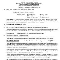 Image of Village of Oak Lawn Board of Trustees Minutes, 2005 - Minutes of the Oak Lawn Board of Trustees for the year 2005.