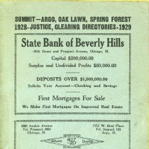 Image of 1928 - 1929, Oak Lawn Telephone Directory - This item is a telephone directory for Summit, Argo, Oak Lawn, Spring Forest, Justice, and Clearing published in 1928.  The cover is green in color with black lettering and images.