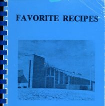 Image of Favorite Recipes  - Cookbook developed and sold by the Women's Society of Trinity Presbyterian Church located at 10600 South Kostner Avenue in Oak Lawn. The cover is blue in color and features an image of the church.