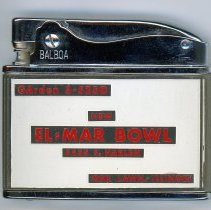 Image of El-Mar Bowl Lighter - This item is a promotional lighter distributed by El-Mar Bowl located at 8435 South Harlem Avenue in Oak Lawn.  It is red and white in color and features informational text.