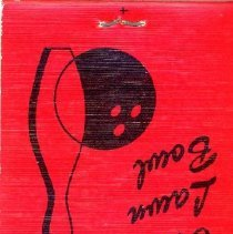"Image of Branding Iron and Oak Lawn Bowl Matchbook - This item is a matchbook cover from the Branding Iron Restaurant and Oak Lawn Bowl located at 4200 West 95th Street in Oak Lawn.  There is writing on the inside cover which claims that ""We sell over four tons of ribs every month""."