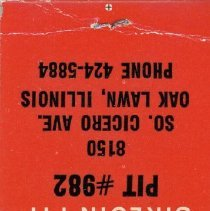 "Image of Bonanza Sirloin Pit Matchbook - This item is a matchbook for the Bonanza Sirloin Pit located at 8150 South Cicero Avenue in Oak Lawn.  The top of the book contains an advertisement that states ""World's Biggest Steak Buys""."