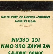 Image of Dean's Snack Shop Matchbook - This item is a matchbook for Dean's Snack Shop located at 9500 South Cicero Avenue in Oak Lawn.  It is green and white in color and features a small menu.