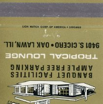 Image of Banana's Steak House Matchbook - This item is a matchbook for Banana's Steak House and Tropical Lounge located at 9401 South Cicero Avenue in Oak Lawn.  The cover is gold and black in color and features an image of the restaurant.