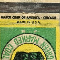 Image of William Brandt and Son Matchbook - This item is a matchbook from William Brandt and Son who specialized in coal and building materials.  It has a green and yellow cover and features an image of coal.