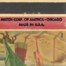 Image of Homestead Bar Matchbook - This item is a matchbook for the Homestead Bar located at 9306 Central Avenue in Oak Lawn.  The cover is red, yellow, and green with the image of a woman.  This building was originally owned by the Simpson Family, who were among Oak Lawn's earliest settlers.