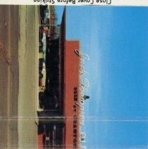 Image of Jack Thompson Oldsmobile Matchbook - This item is a matchbook for Jack Thompson Oldsmobile located at 4040 West 95th Street.  The cover is red and white in color with various advertising on it.
