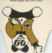 Image of First National Bank Matchbook - This item is a matchbook for the First National Bank of Oak Lawn located at 9430 South Cicero Avenue.  The cover is brown, white and red with the image of a Panda Bear.