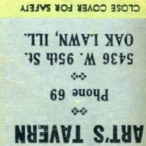 Image of Art's Tavern Matchbook