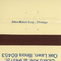Image of Hilton Inn of Oak Lawn Matchbook - This item is a matchbook for the Hilton Inn of Oak Lawn located at Cicero Avenue and 94th Street. The cover is cream with blue lettering and features a small logo.
