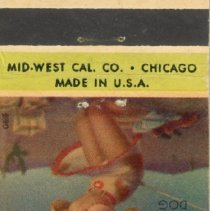 Image of Village Club Matchbook - This item is a matchbook for the Village Club located at 5247 West 95th Street.  It is red, yellow, and green in color with the image of woman on the front.