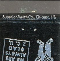 Image of Gateway Motel Matchbook - This item is a matchbook from the Gateway Motel located 4657 West 95th Street. It has a black cover and features a cartoon character.