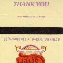 Image of Carver's Restaurant Matchbook - This item is a matchbook from Carver's Restaurant located at 4750 West 103rd Street in Oak Lawn.  The cover is cream and purple in color with an image of the restaurant's logo featured.