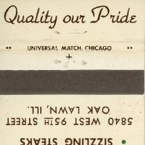 Image of Country Inn Restaurant Matchbook - This item is a matchbook from the Country Inn Restaurant located at 5840 West 95th Street in Oak Lawn.  The cover is white and brown in color with an image of the restaurant's logo featured.