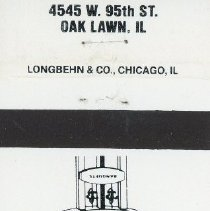 Image of Golden Age Restaurant Matchbook - This item is a matchbook from the Golden Age Restaurant located at 4545 West 95th Street in Oak Lawn.  The cover is white and black in color with an image of the restaurant's sign featured.