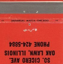 Image of Bonanza Sirloin Pit Restaurant Matchbook - This item is a matchbook from the Bonanza Sirloin Pit Restaurant located at 8150 South Cicero Avenue in Oak Lawn. The cover is red in color with an image of the restaurant's logo featured.
