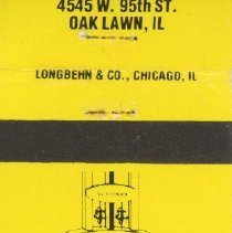 Image of Golden Age Restaurant Matchbook - This item is a matchbook from the Golden Age Restaurant located at 4545 West 95th Street.  It is yellow in color and features an image of a sign.