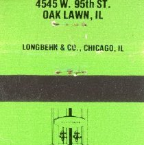 Image of Golden Age Restaurant Matchbook - This item is a matchbook from the Golden Age Restaurant located at 4545 West 95th Street.  It is green in color and features an image of a sign.