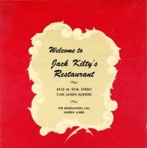 Image of Jack Kilty's Restaurant Menu - This item is a menu from Jack Kilty's Restaurant located at 4545 West 95th Street. The cover is red in color and features the restaurant's contact information.