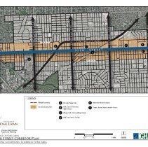 Image of 95th Street Corridor Plan, 2013 - Draft of a plan created by the Village of Oak Lawn regarding the development of 95th Street from Harlem Avenue to Pulaski Road.  Includes maps and statistics regarding transportation, accidents, community identity, demographics, retail market, and property characteristics.