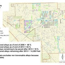 Image of 2013 Alley Paving Progress Map - Map showing the progress made by the Village of Oak Lawn in paving the alleys of the village.  Includes basic statistics.