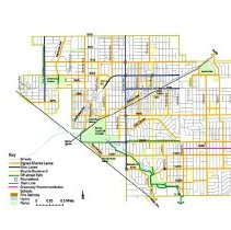 Image of 2010, Oak Lawn Bicycle Plan Recommended Network Map - Map showing the recommended network of bike paths for the Village of Oak Lawn.