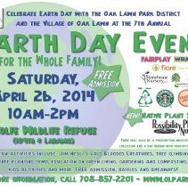 Image of 7th Annual Earth Day Event Flier, 2014 - Flier advertising the 7th annual Earth Day Event co-sponsored by the Oak Lawn Park District and the Village of Oak Lawn on April 26, 2014. It was held at Wolfe Wildlife Refugee.