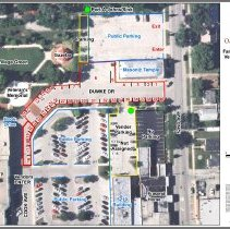 Image of 2014 Oak Lawn Farmers Market Vendor Layout Map - Google map showing the location of the vendor stalls and other facilities of the Oak Lawn farmers market for 2014.  It focuses on the area near Dumke Drive and 52nd Avenue, just east of the Oak Lawn Public Library.